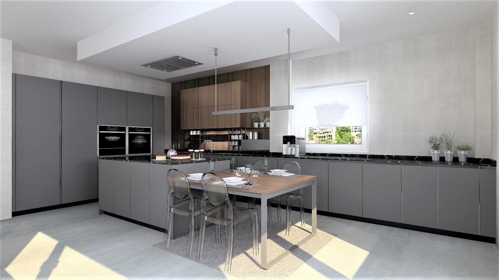 Cocina en gris y madera con isla abierta al salón