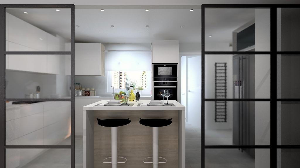 Cocina blanca semi integrada al salón
